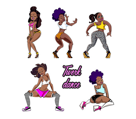 Twerk dance cartoon style girl for print design. Vector illustration.