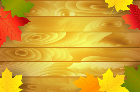 Autumn holiday background with maple leaves and wood. Vector illustration.