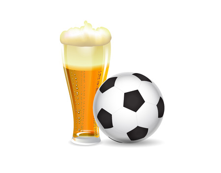 Classic football ball  with beer mug on white backdrop. Vector illustration.
