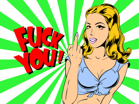 Young beautiful woman shows middle finger fuck you. Cartoon style vector illustration.
