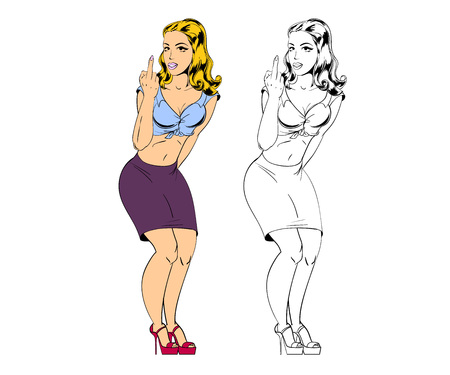 Young beautiful woman shows middle finger you. Cartoon style vector illustration.