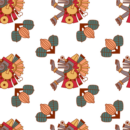 Aztec cacao chocolate seamless pattern design. Vector illustration.