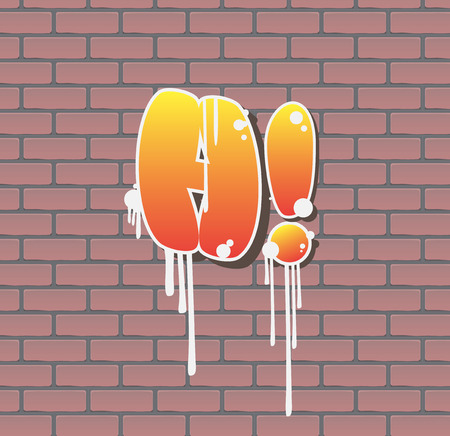Graffitti lettering on red brick wall. Vector illustration. Vettoriali
