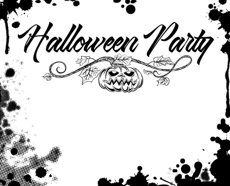 Halloween poster design in black and white grunge style.  illustration. Stock Photo