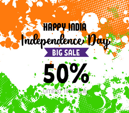 Poster for Indian independence day sale. Vector illustration.  イラスト・ベクター素材