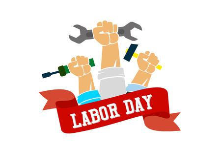 Labor day poster design in flat style. Vector illustration. Illustration