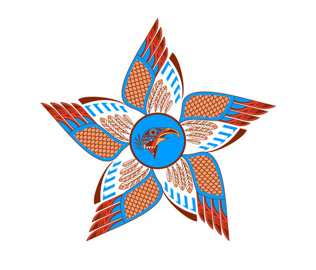 Tattoo sketch design in aztec style with eagle head and wings. Vector illustration.