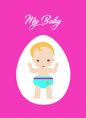 Card design with cute human baby in cartoon style. Vector illustration. Ilustração