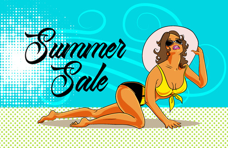 Summer sale poster design with pretty bikini female character in comic book style. Vector illustration.  イラスト・ベクター素材