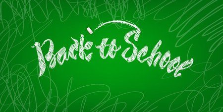 Back to school poster design with decorate letters on green chalkboard. Vector illustration. Ilustração