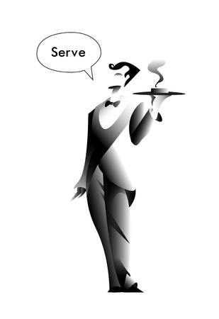 Serve illustration poster in black and white design. Vector illustration.  イラスト・ベクター素材