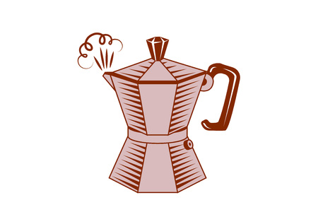 Coffee mocha in comic style logo design. Vector illustration.  イラスト・ベクター素材