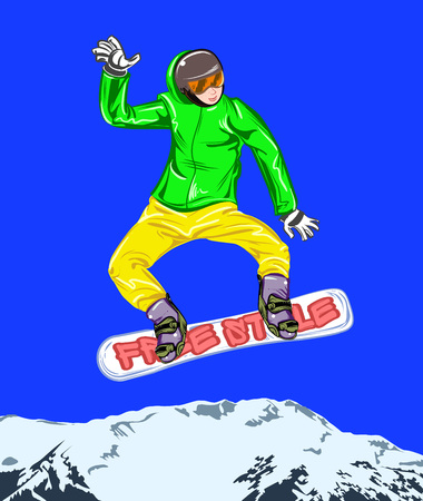 Winter sport poster with male character on snowboard. Vector illustration.