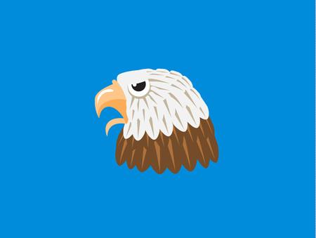Eagle head in cartoon style. Vector illustration.