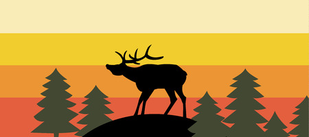 Cartoon style deer silhouette in sunset forest. Vector illustration.