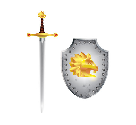 Blade and shield with lion head golden emblem. Vector illustration.
