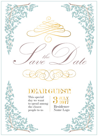 Wedding invitation design in vintage style with calligraphy. Vector illustration.