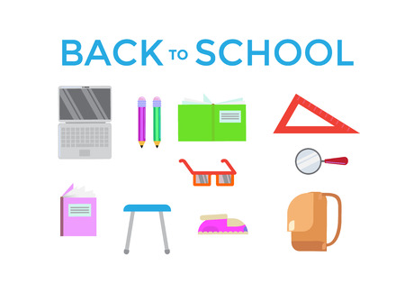 Back to school poster design in flat style. Vector illustration.