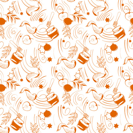 Jewish holiday Shana Tova poster design in line art style. Vector illustration.