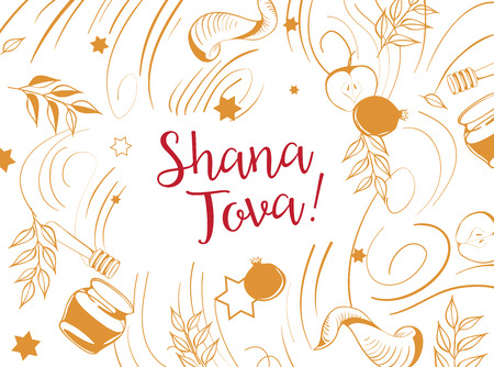 Jewish holiday Shana Tova poster design in line art style. Vector illustration.