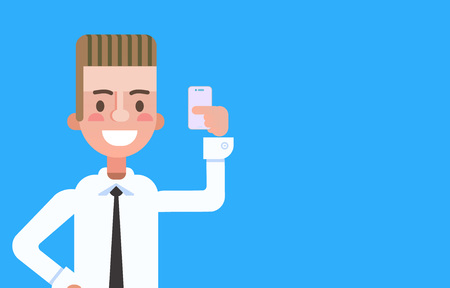 Cartoon style boy character with smartphone in him hand. Vector illustration.