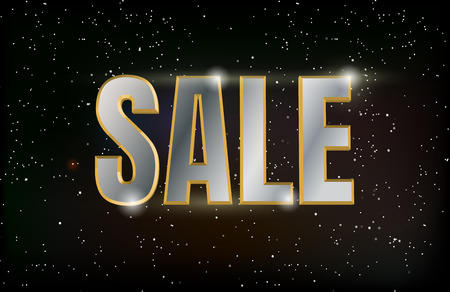 Black friday sale poster design with metal text on universe background. Vector illustration.