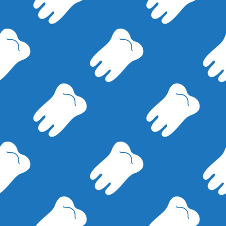 Seamless pattern design with teeth on blue background. Vector illustration.