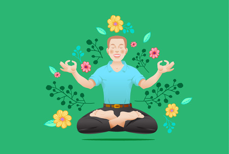 Poster for yoga class. Man in meditation pose and floral pattern on background. Vector illustration. Ilustração
