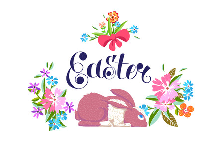 Easter holiday poster design in cartoon style. Flowers and rabbit. Vector illustration. Illustration