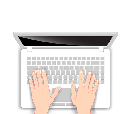Laptop in cartoon style with human hands on white background. Vector illustration.