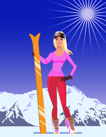 Ski resort poster with girl in cartoon style on mountains background. Vector illustration. Illustration