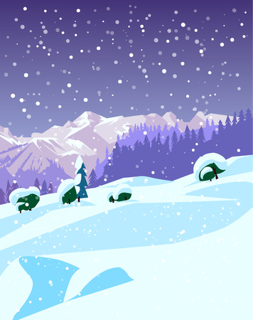 Ski and snowboard recreation poster design. A winter mountain landscape. Vector illustration.