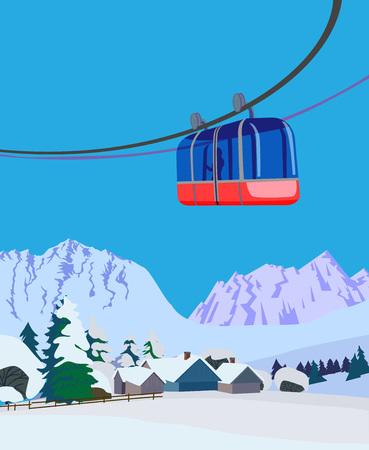 Ski and snowboard recreation poster design. A winter mountain landscape. Vector illustration.