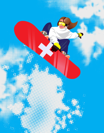 Switzerland resort poster with girl with snowboard in cartoon style on mountains background. Vector illustration.