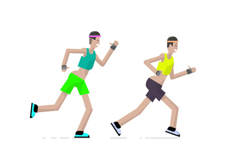 Sport a runner character design in flat style. Vector illustration.  イラスト・ベクター素材