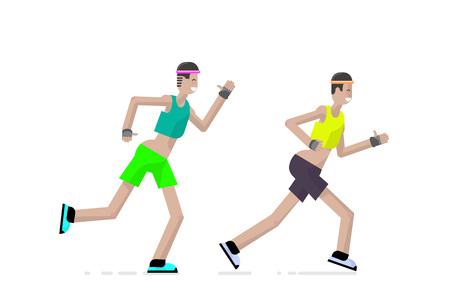 Sport a runner character design in flat style. Vector illustration. Illustration