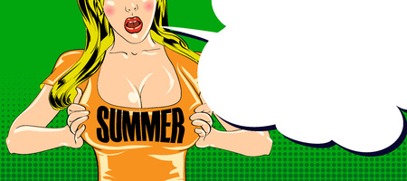 Summer poster with sexy girl character in cartoon style. Vector illustration.  イラスト・ベクター素材