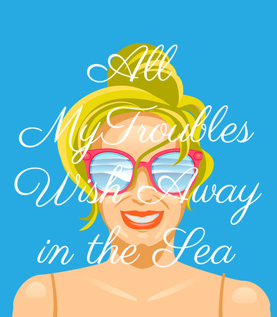 Summer time poster with decorate letters and smile girl face. Vector illustration. Illustration