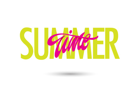 Summer time poster with decorate letters. Vector illustration. Imagens - 126734418