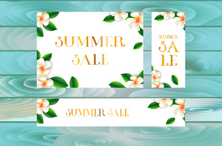 Summer sale web poster design with botanical elements. Vector illustration.