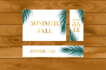 Summer sale web poster design with botanical elements. Vector illustration.