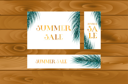 Summer sale web poster design with botanical elements. Vector illustration. Stock fotó - 126734422