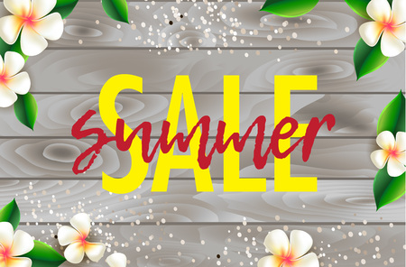 Summer sale poster design with Plumeria flowers on wooden background. Vector illustration. Ilustração