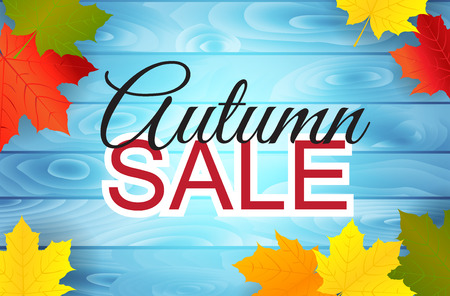 Autumn sale poster design with maple leaves on wooden background. Vector illustration.