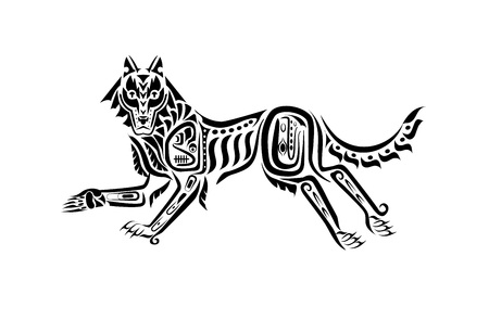 Wolf pattern in tribal tattoo style. Vector illustration.  イラスト・ベクター素材