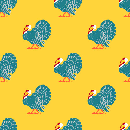 Thanksgiving day seamless pattern with turkey bird. Vector illustration. Ilustração