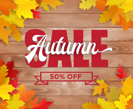Autumn sale poster design. Vector illustration.