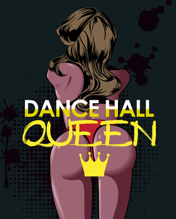 Twerk dance poster design with the girl turned back and text. Vector illustation.