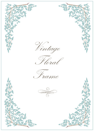 Floral frame design in vintage style with calligraphy. Vector illustration.