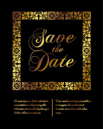 Wedding invitation card design in modern style. Vector illustration.